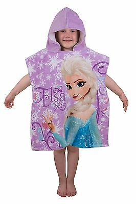 New Disney Frozen Super Soft Hooded Poncho Girls Swimming Beach Towel Anna Elsa