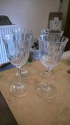 Set Of 4 Cut Glass Crystal 7.5 Inches High Large Wine Glasses Nice Ping!