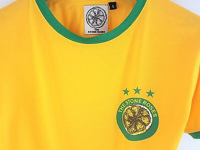 The Stone Roses OFFICIAL 2012 Brazil Mens T-Shirt Yellow Wembley Hampden Small