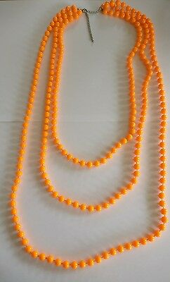 Vintage 80's neon Orange lucite plastic bead necklace