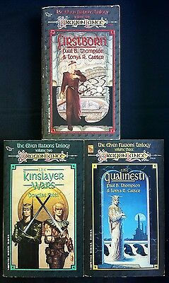 Lot Of 3 Dragonlance Books - Elven Nations 1-3 Firstborn Qualinesti Kinslayer