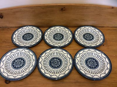 VINTAGE BLUE & WHITE QUEEN'S CHINA - THE ROYAL PALACES - 6 x SIDE PLATES
