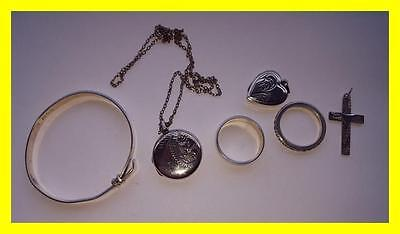 Mixed Lot Of Silver Jewellery,rings,lockets, Bracelet Etc