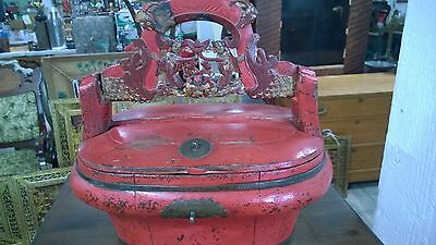 Vintage Chinese Wood Carved Basket Lacquered Wedding Basket 19th Century Antique