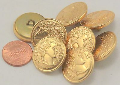 """8 Gold Tone Puffed Metal Buttons XLII Roman Numerals Ancient Head 7/8"""" 23mm 7025"""
