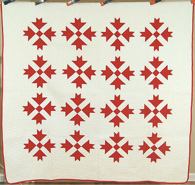 NICELY QUILTED Vintage 1870's Red & White Goose Tracks Antique Patchwork Quilt!