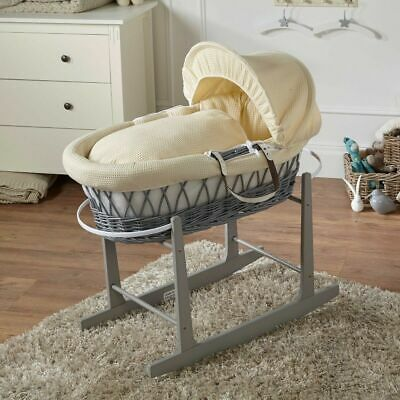 Cream Waffle Grey Wicker Moses Basket And Grey Rocking Stand