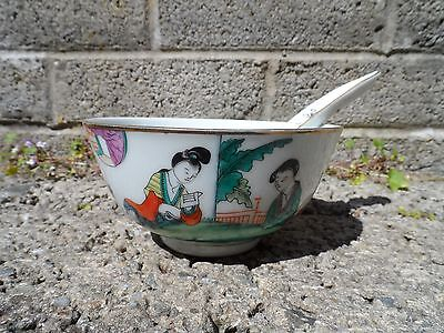 Antique vintage Chinese porcelain bowl and spoon - hand painted Asian ceramic bo