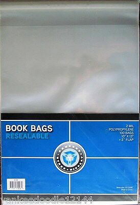 """100 PSD Book Resealable Bags/Sleeves 10 x 13 + 2"""" lip Polypro Archival Storage"""