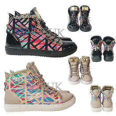 Ladies Women's Girls Chains Zip Art Sports Fashion Trainers High Top Shoes Size