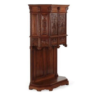 Gothic Revival Finely Carved Walnut Antique Liquor Cabinet Cupboard c. 1880