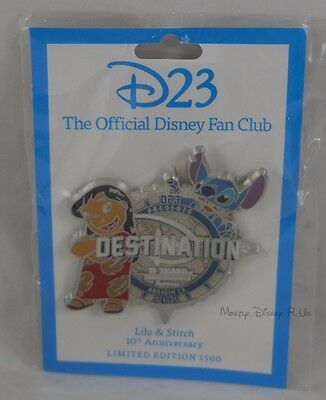 New Disney D23 Destination D Lilo & Stitch 10th Anniversary Pin LE 1500 Rare