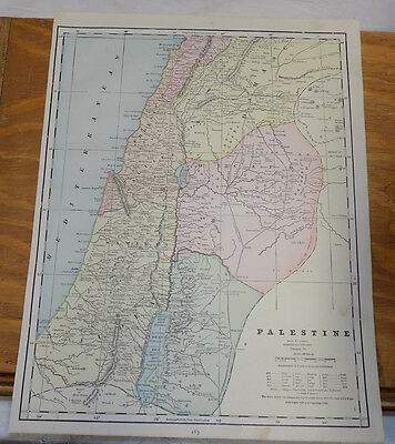 1891 Antique CRAM Map///PALESTINE, b/w INDIA