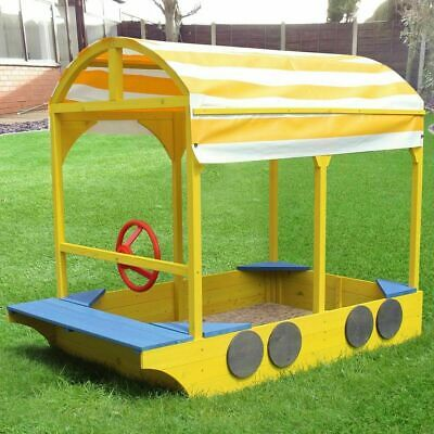 Kids/childrens Wooden Bus Sand Box/pit Fun Play Area With Seating And Canopy