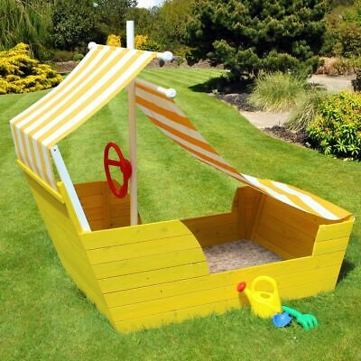 Kids/childrens Wooden Pirate Ship Sand Box/pit Fun Play Area With Seating/canopy
