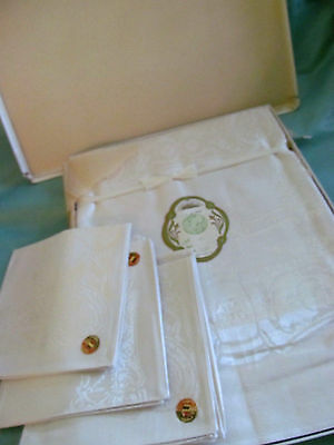 Orig Tags Box~Lovely Antique Belgium Damask Tablecloth 6 Napkin Set~Never Used