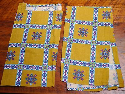 "Pair of Vintage Mid Century Barkcloth Swedish Fabric Curtain Panels 23"" x 42"""