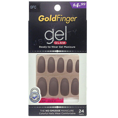 Kiss GoldFinger Gel Glam Manicure Nail Tips Press On Long Matte Oval Glue GFC09