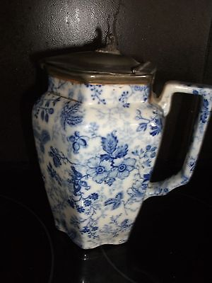 Blue and White Chintz Large Jug  c1920/30's With Pewter lid/Cover