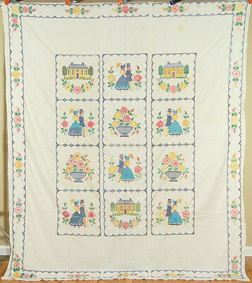 Large Vintage Cross Stitch Album Antique Quilt Top ~Houses, Flowers & People!