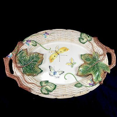 Fitz & Floyd Old World Rabbit Butterflies Leaves Oval Handled Platter Plate Dish