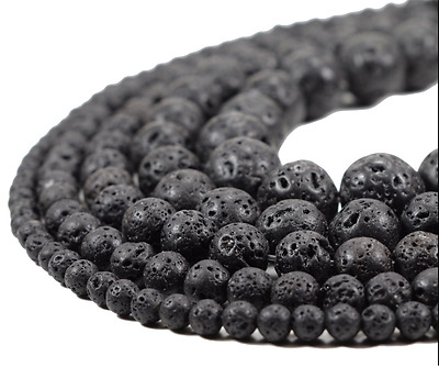 "15"" Natural Lava Beads Black Volcanic Stone Rock Gemstone Wholesale 4/6/8/10mm"