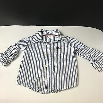 Baby Boys 9 Month Carter's Button Down Long Sleeve Shirt Blue White Striped FB