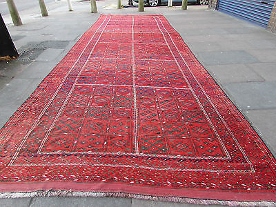 Antique Hand Made Afghan Rug Oriental Wool Red Long Wide Large Carpet 696x225cm