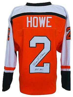 Mark Howe Signed Orange Custom Pro-Style Hockey Jersey Inscribed HOF 2011 PSA