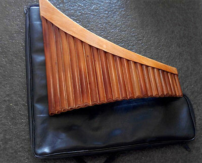 Panflute Professional Handmade Bamboo Curved 22 Pipes G Key In Leather Case