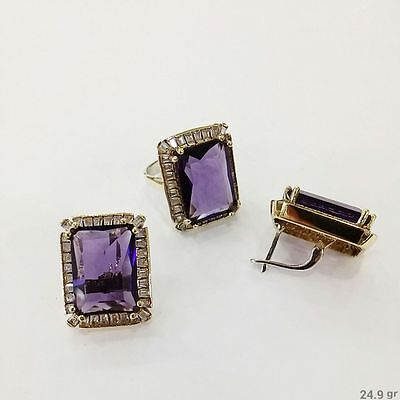 925 Silver Handmade Jewelry Fabulous Purple Amethyst Earring And Ring Set