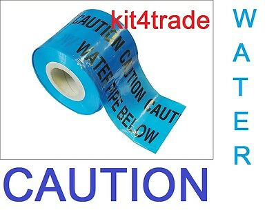 CAUTION WATER PIPE BELOW Underground buried pipe warning tape cut lengths