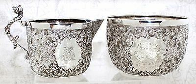 ANTIQUE SILVER CUP & JUG SET, Bicycle Race June 1892, engraved, Handmade CYCLIST
