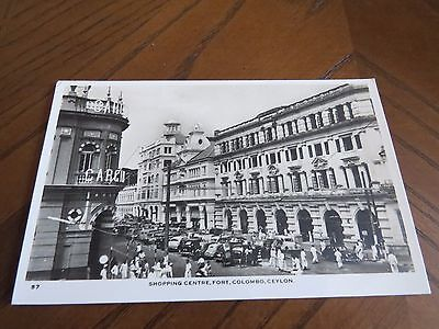 Vintage Postcard Shopping Centre Fort Colombo Ceylon R/p Animated Cars People
