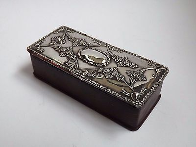 Antique Edwardian Silver & Morocco Leather Stamp Box - Birmingham 1906