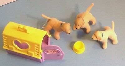 Barbie Loving Family Pet Dogs/Puppies w/Pet Carrier & Food Dish 1998/1999 - EUC