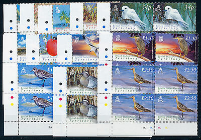 British Indian Ocean Territory 2004 Definitives Sg296/307 Plate Blocks Of 4 Mnh