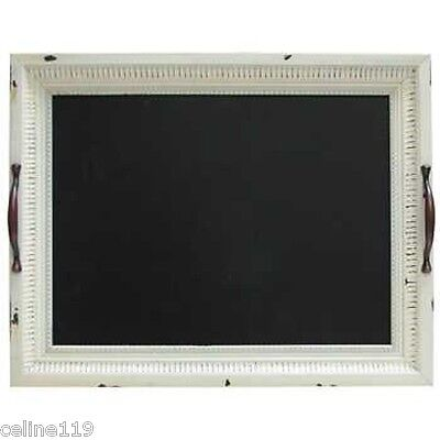 Vintage White Tray Art with Chalkboard.W/Handles. Shabby Chic Decor.
