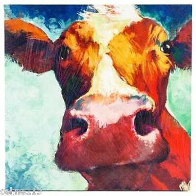 "Big Cow Canvas Wall Art Hand Painted Large Piece Farmhouse Decor 22"" X 22"""
