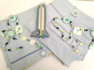 Mamas & Papas Nursery Curtains & Tie Backs Baby Ready Steady Go Blue Infant Boy