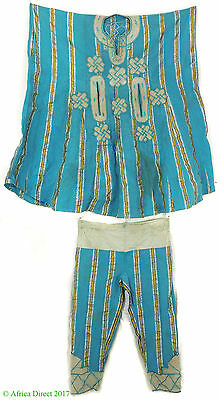 Hausa Grand Boubou Outfit with Pants Blue Stripes Nigeria African Art