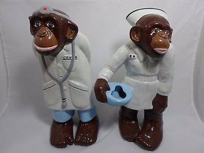 Ceramic Monkey Figure in Nurse RN Outfit Pair of Monkeys