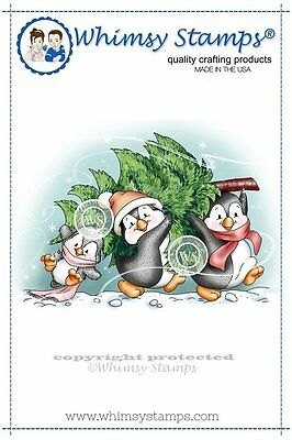 Whimsy Stamps- Cling Mounted Rubber Stamp - Penguins Carry The Tree - Christmas