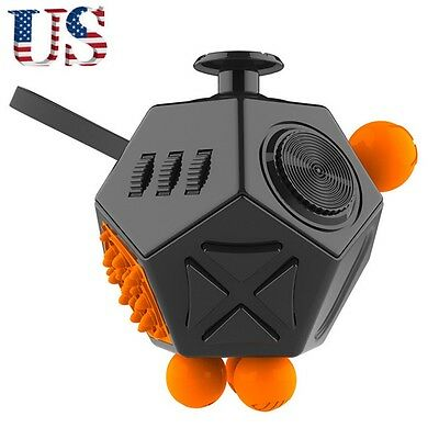 12 Side Fidget Cube Toy Anxiety Stress Attention Relief Puzzle Kid Gift,Black A1