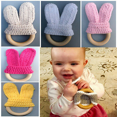 Bunny Natural Wooden Crochet Baby Infant Teether Teething Bracelet Ring Toy Gift