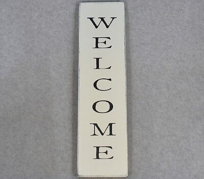 Rustic Farmhouse Style Vertical Welcome Wood Sign, Antique White & Black