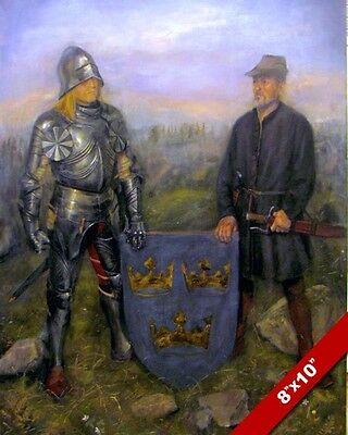Medieval Swedish Knight In Armor 3 Crowns Coat Of Arms Painting Art Canvas Print
