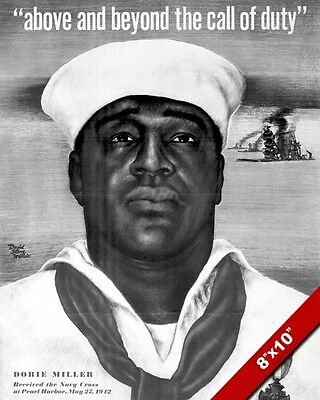 Dorie Miller Pearl Harbor Wwii Propaganda Poster Painting Real CanvasArt Print