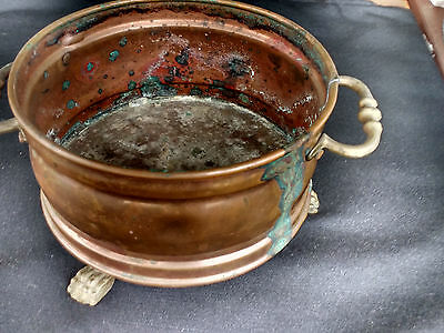 Vintage Copper Two-handled Claw Footed Bowl