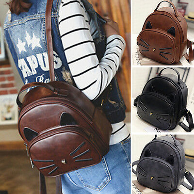 Women Leather Satchel Travel School Backpack Girls Rucksack Handbag Shoulder Bag